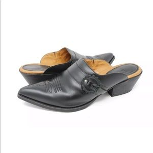 Ariat Mules Black Leather Pointed Toe Slip On